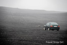 My rental car in the midst of the lunar like landscape