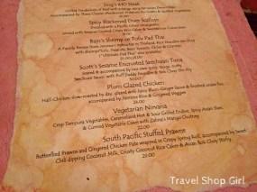Rhumb Lines menu - entrees