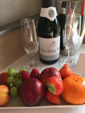 Welcome bottle of sparkling wine and fresh fruit on embarkation day