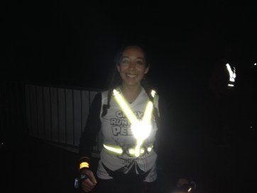 Alex lit up and ready to go for her night run