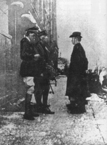 Rebel leader Padraig Pearse surrendering to General Lowe in 1916, just days after the rising started. The disembodied feet on the bottom right belong to Elizabeth O'Farrell, who was edited out of the photo so a woman wouldn't be seen to be involved.