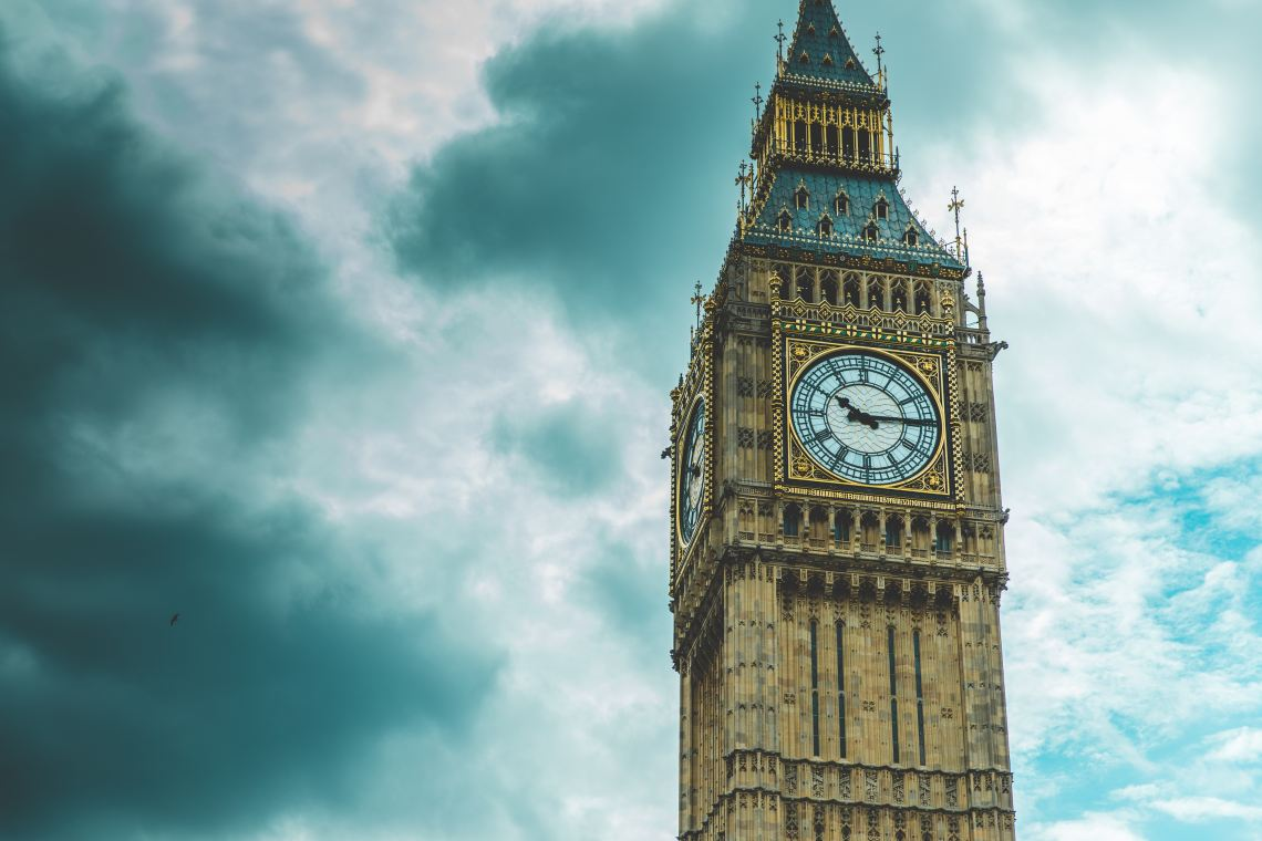big ben in the UK on a moody sky