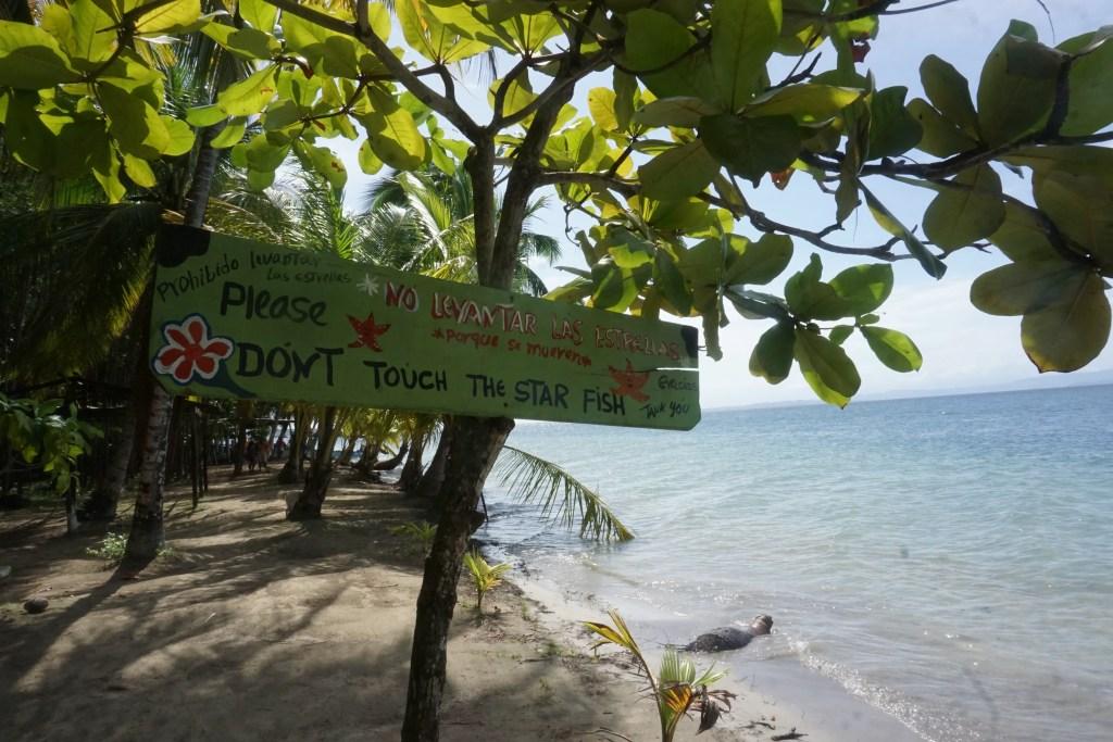 Panneau qui explique qu'il ne faut pas toucher les étoiles de mer sur plage starfish playa de las estrellas