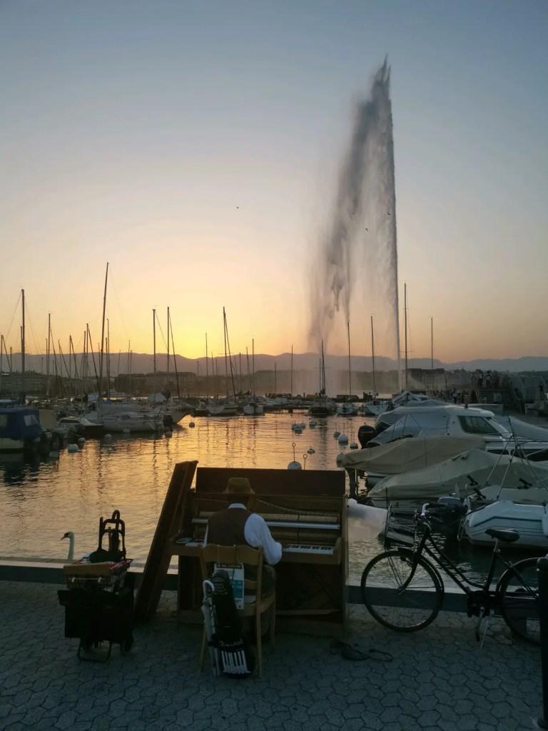 Genève en suisse la capitale culturelle du Pays magnifique photo du jet d'eau