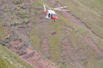 Mountain rescua operation by the coast guard.