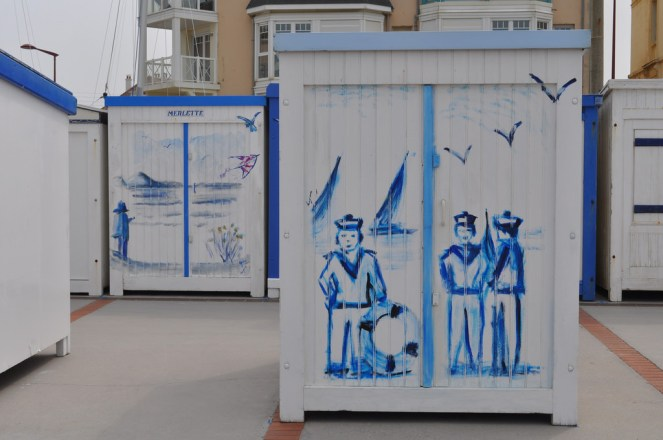France, Beach huts, painted