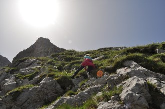 Scrambling, hiker, Montenegro
