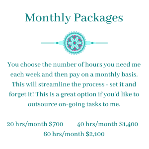 Monthly packages $35/hour - Virtual Assistant Extraordinaire