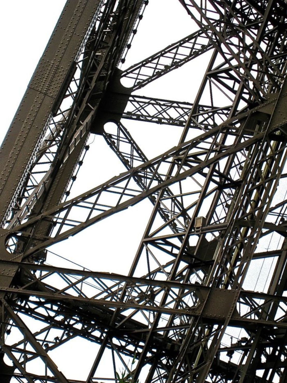 Closeup of the ironwork of Eiffel Tower