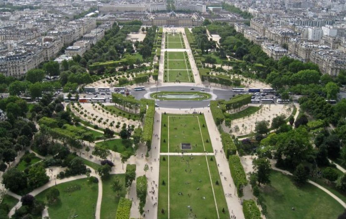 Magnificent view of Champs de Mars and Ecole Militaire from the Eiffel Tower