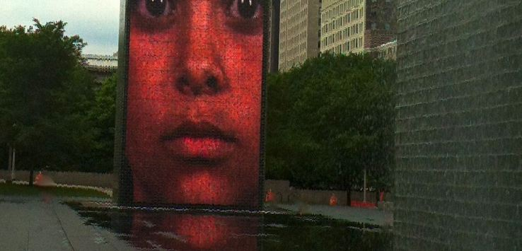 Millennial Park-Crown Fountain in the morning