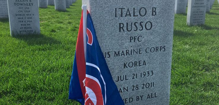 National Cemetery-Cubs flag on a grave
