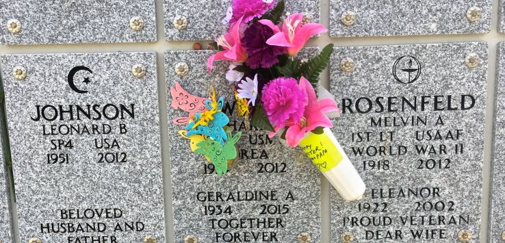 National Cemetery: Flowers on a columbarium