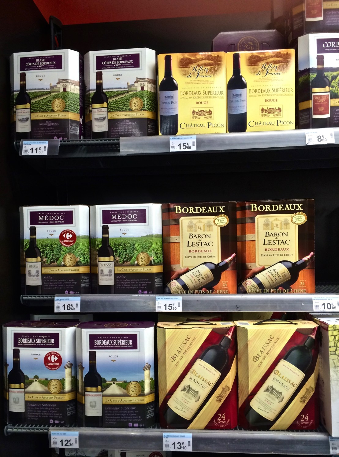 Grocery stores in Europe-wine boxes