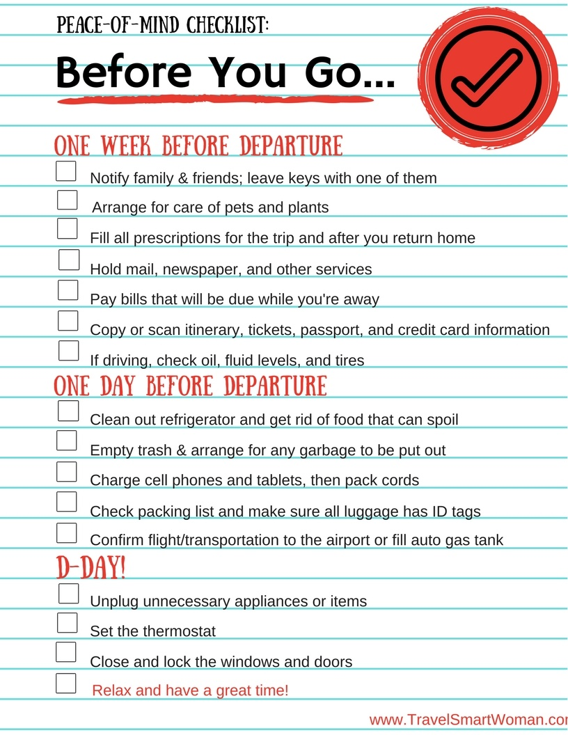Travel Checklist: Before You Go...A one page checklist to help you get leave for your trip without forgetting some common tasks.