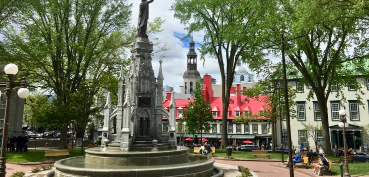 Quebec City: Typical of France, a square offers both a moment of peace and a bit of history. (Photo by Suzanne Ball. All rights reserved.)