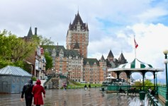 Quebec City: Even in the spring rain, Chateau Frontenac shines. Walk along the riverfront for spectacular views of the St. Lawrence River. (Photo by Suzanne Ball. All rights reserved.)