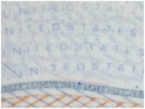 The tiniest-possible printing on the pages of your passport indicate that your document is an original. ((Photo credit: U.S. Dept. of State)