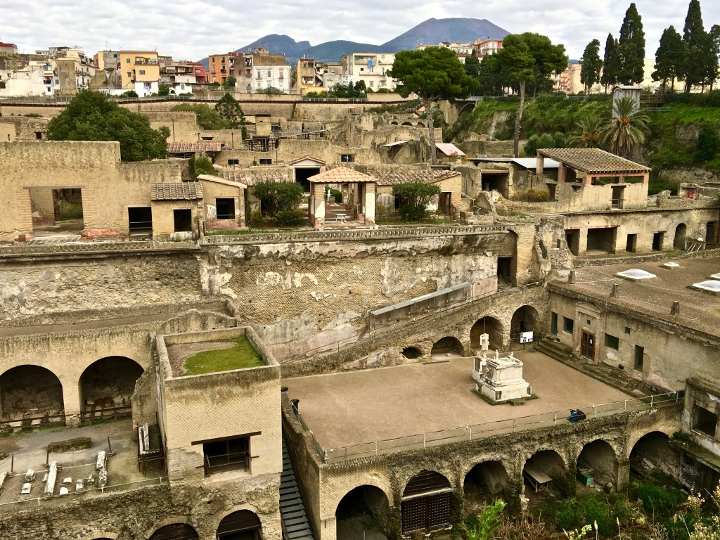The town of Ercolano now sits atop the ruins of Herculaneum, which includes Villa dei Papiri. (Photo by Suzanne Ball. All rights reserved.)