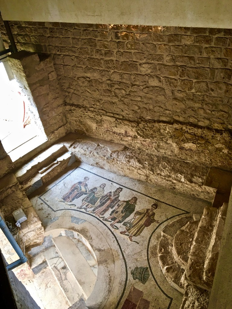The owner and his guests entered the baths through a private entrance. Mosaics show his wife and children heading to the baths.