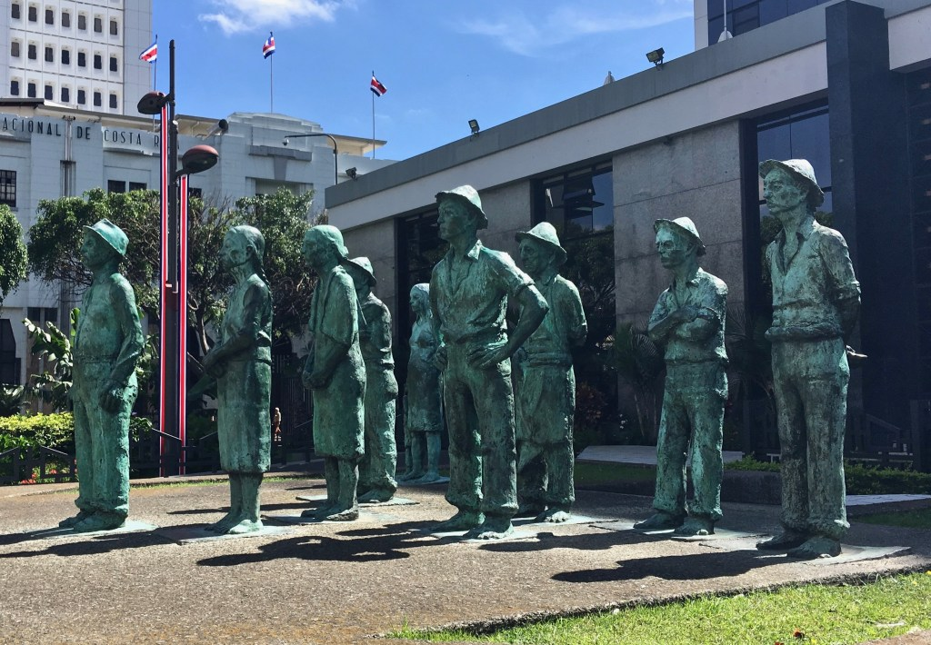 "San Jose-Costa Rica has some great public art, including ""Presentes"" by Fernando Calvo. His bronze statues represent the working people of the country, standing firmly in place outside Central Bank (Banco Central)."