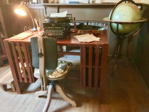 London's desk at Beauty Ranch