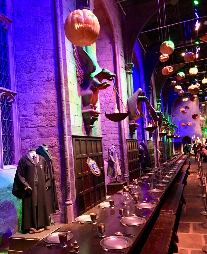 The Great Hall's ceiling of wooden beams and candles were digitally created. Here, the pumpkins are real. (Harry Potter in London)