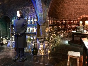 Snape stands in front of his Potions Class set. The bottles all have handwritten labels. (Harry Potter in London)