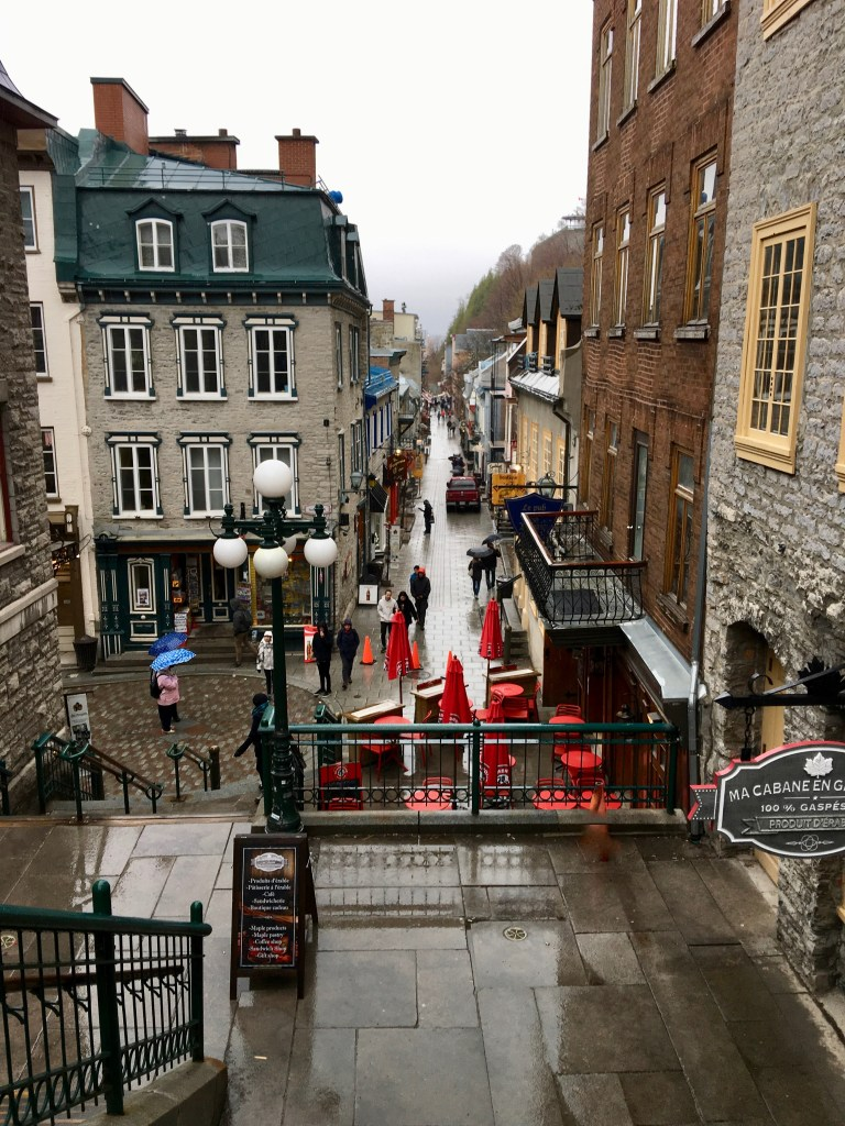 "View of Rue du Petit Champlain from the top of ""Escalier Casse Cou""...the Breakneck stairs."