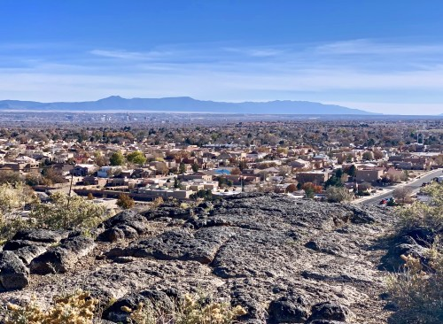 Mile-high view from the volcanic Mesa Point Trail at Petroglyph National Monument. Worth the climb!