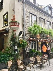 "Le Lepin Saute (Jumping Rabbit) is a ""resto"" on Rue du Petit Champlain."