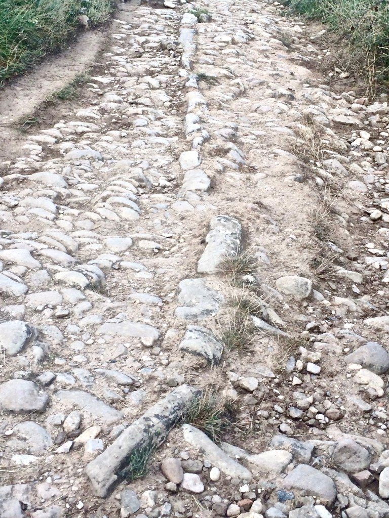 Roman roads are part of your path. It's amazing to think how far the Romans got and how much they built during their reign. This one went downhill, a little tricky to maneuver. But worth it to be on an ancient road.