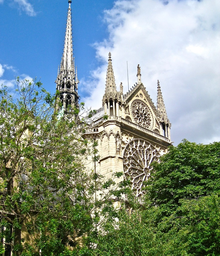 The wooden roof is what burned on 15 April 2019, taking the spire with it. When it was built, Notre Dame Cathedral required 52 acres of forest to complete the roof.