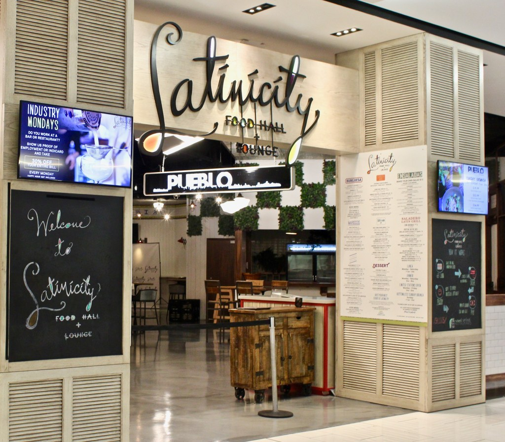 A food court with a Latin American theme--Latinicity is popular with locals and tourists.