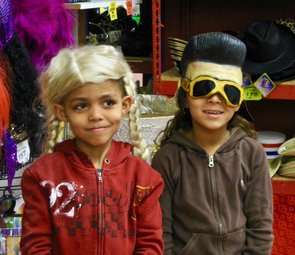 2009: Payton (in the Goldilocks wig) and Saedy (resemblance to Elvis is uncanny) make their first trip to Archie McPhee.