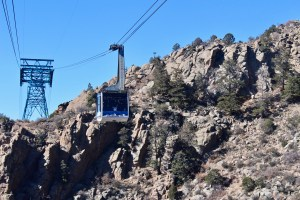 The Sandia Peak Tram has two cars that pass each other. Get ready to wave!