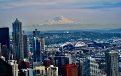 "View from the Seattle Space Needle: ""The Mountain Is Out!"""