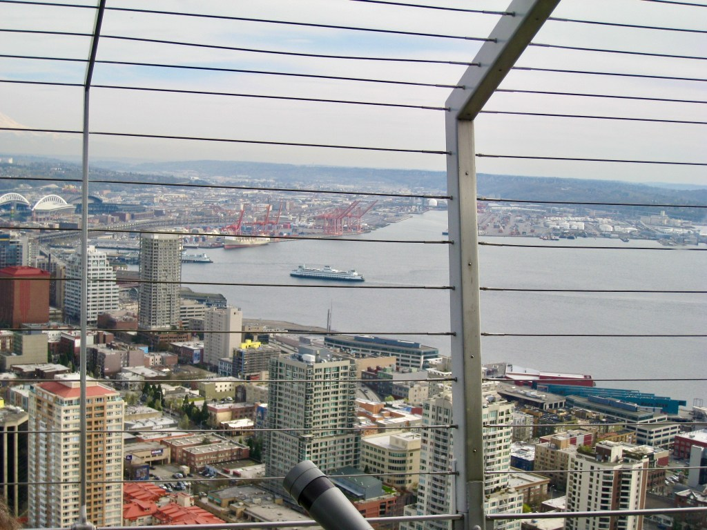 Port of Seattle and downtown, from the Space Needle, 2009. There was a concrete deck and these wires to keep us safe! (Photo by Suzanne Ball)