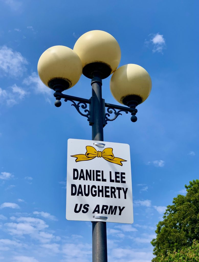 Every street light in Casey, Illinois has a sign with the name of a resident who has served in the military, along with their branch of service.