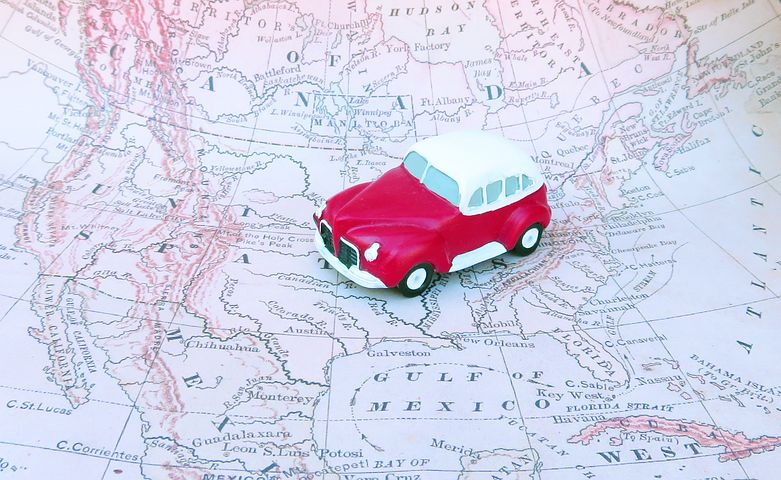 Red car on a map