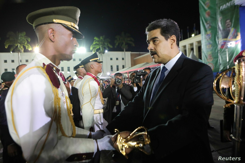 Venezuela's President Nicolas Maduro takes part in a military graduation ceremony in Caracas, July 8, 2019.