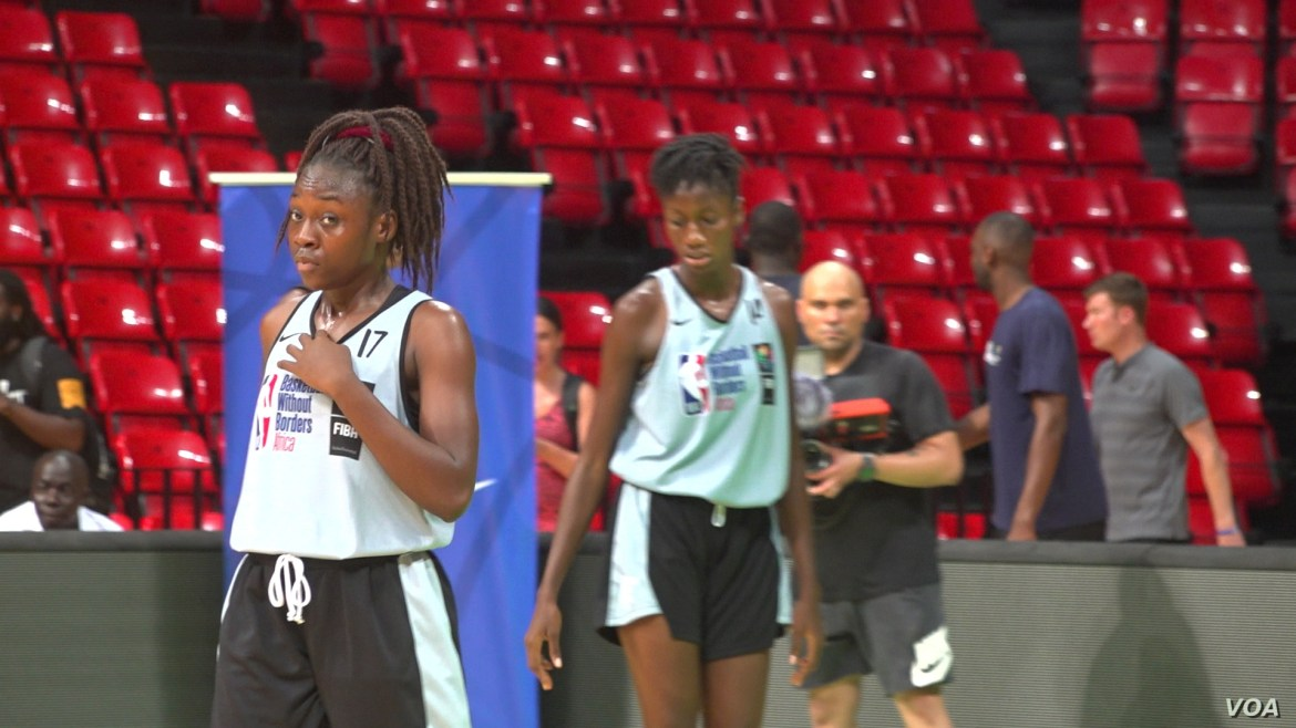 Iris was scouted by the program from her local team in Gabon (E. Sarai/VOA)