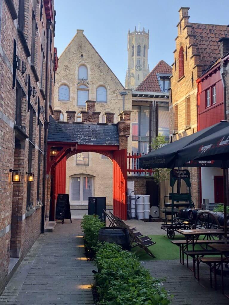 Picturesque patio dining in Belgium
