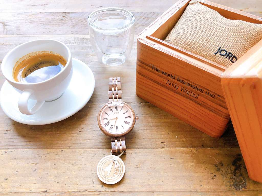 JORD Cassia Series: wooden watches for women. Cassia Walnut and Vintage Rose with engraved cedar box.