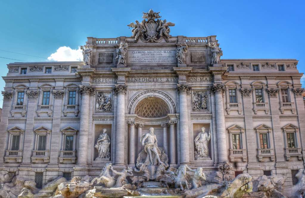 Trevi Fountain in Rome. Add tossing a coin into the fountain to your Rome bucket list. ©Jenna Lee