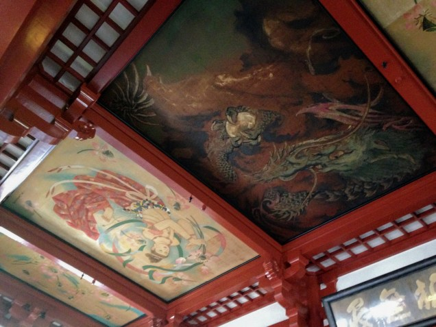 The beautiful ceiling of the temple