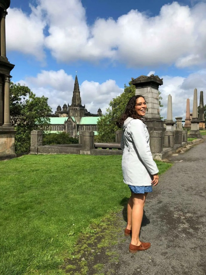 Sarah turning in the Necropolis with Glasgow Cathedral in background