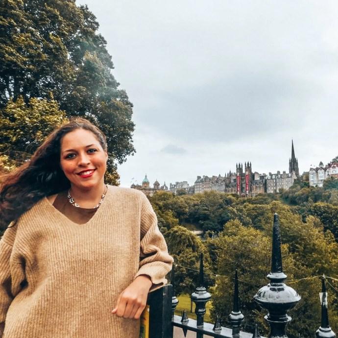 Sarah with University of Edinburgh Views