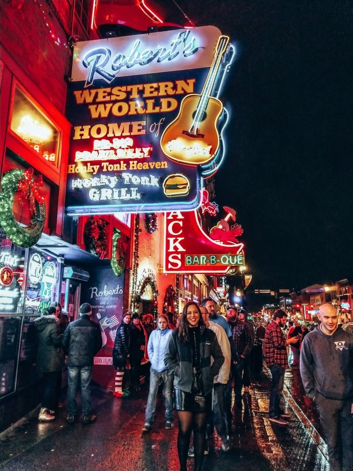 Sarah Fay in Front of Robert's Western World on Broadway in Nashville.