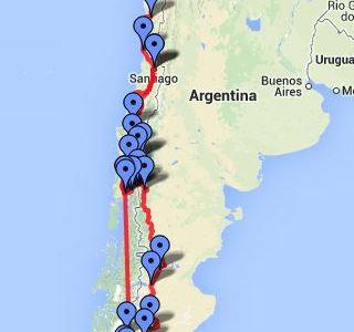 Route Chile und Argentinien online und zum Download verfügbar